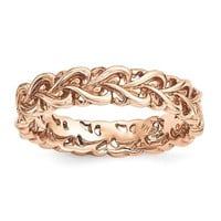 Rose Gold Over Sterling Silver Stackable Expressions Intertwined Hearts Ring