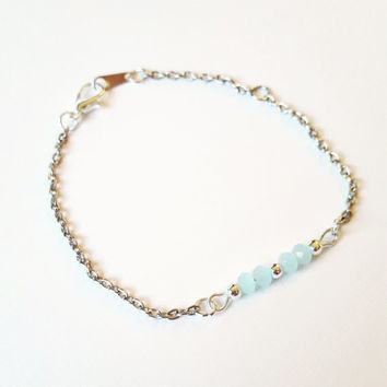 Mint Bracelet , Beaded Bracelet , Tiffany Blue , friendship bracelet ,  Beach Wedding , Bridesmaid Jewelry , Bridal Jewelry , Bridesmaid