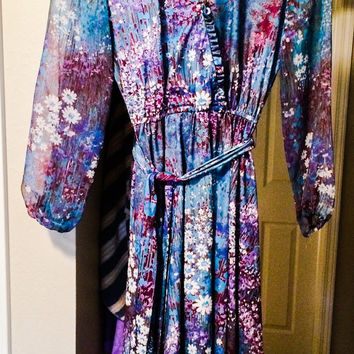 Vintage 1970's Lady Carole Petites of New York Blue Purple Floral ILGWU Dress