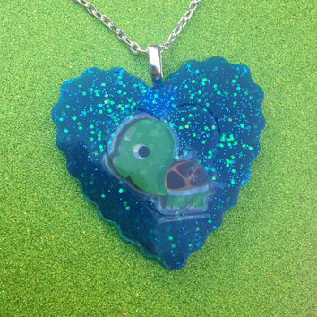 Kawaii Glitter Heart Turtle Pendant Necklace