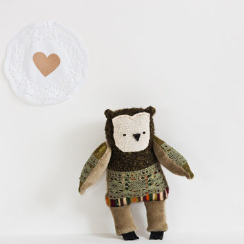 Frank -   Little  Owl, soft art toy by Wassupbrothers