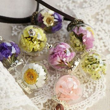 Handmade Real Dried Flower Wishing Bottle Glass Pendant Necklace