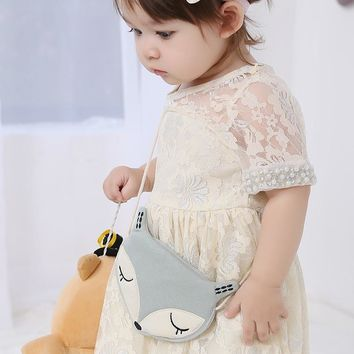 Fox Bags Cute Cloth Messenger Bags Baby Girls Shoulder Bags Child Kids Coin Purses Small Bags Pink/Blue New Design 37