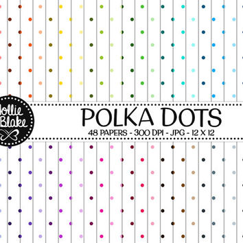 50% off SALE!! 48 Polka Dots Digital Paper • Rainbow Digital Paper • Commercial Use • Instant Download • #POLKA DOTS-105-1