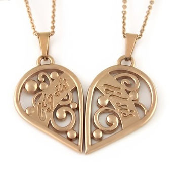 Sister Gold Necklace Big Sis & Lil Sis , Heart Gold Pendant Necklaces Set (2pcs)
