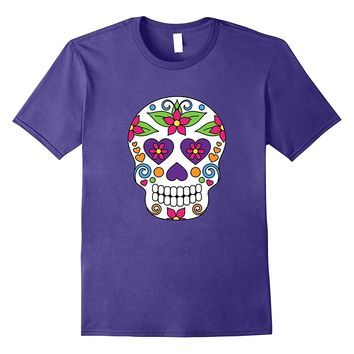Day of the Dead Sugar Skull T Shirt Purple Heart Eyes