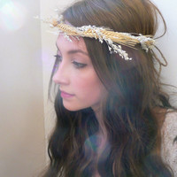 natural halo crown  wheat harvest by AmethystSunflower on Etsy
