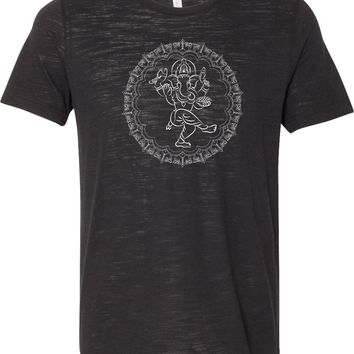 Yoga T-shirt Circle Ganesha White Print Burnout Tee
