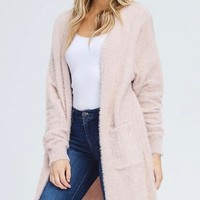 soft fuzzy open front cardigan with double pockets - dusty pink