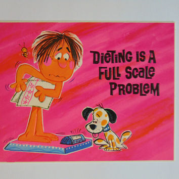 Vintage Dieting is a Full Scale Problem 6 x 9 cardboard novelty sign postcard 60's Charm Craft Hi Signs