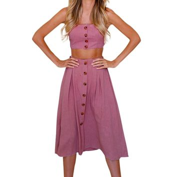 Two Piece Bow Back Retro Tea Length Dress