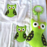 Baby set in Lime green and black, includes bib, sofite toy and burp. Can be personalized for an extra charge.
