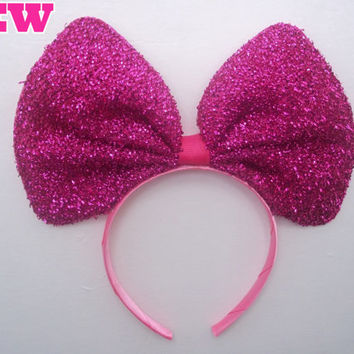 Minnie Mouse Ears Headband Bright Hot Pink Sparkle Glitter Big Hair Bow *breast cancer awareness