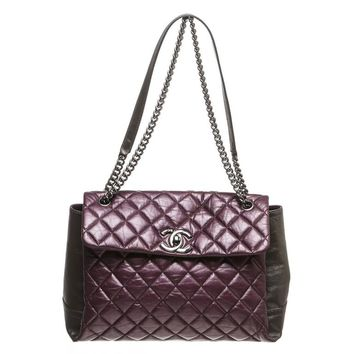 Chanel Purple and Gray Lambskin Lady Pearly Flap Handbag