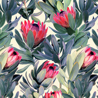 Painted Protea Pattern Canvas Print by Micklyn