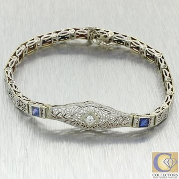 1930s Antique Art Deco 14k White Gold Filigree .47ctw Diamond Sapphire Bracelet