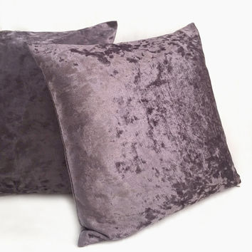 2 Pieces Set. 17inch Dark Taupe Velvet Pillow Covers Set. 2 Tones Effect. Brown Luxe Throw Cushion Covers