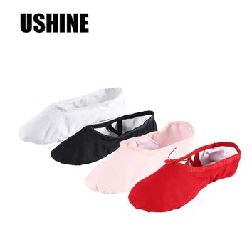 USHINE Yoga Slippers Gym Teacher Yoga Ballet Dance Shoes For Girls Women Ballet Shoes Canvas Sansha Kids