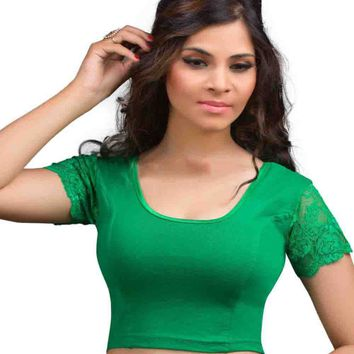 Green Cotton Lycra Lace Sleeve Stretchable Ready-made Saree Blouse Choli
