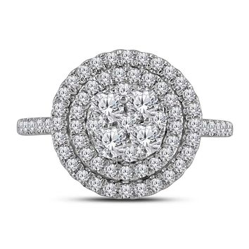 14kt White Gold Women's Round Diamond Concentric Double Halo Cluster Ring 1.00 Cttw - FREE Shipping (US/CAN)