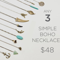 Choose 3 Boho Necklaces //  Simple Pendant Necklace   //  Personalize it DIY  //  Layering Chain  //  Extra Long necklace option