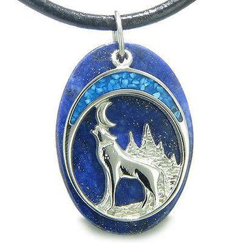 Howling Wolf and Moon Amulet Good Luck Powers Lapis Lazuli Gemstone Pendant on
