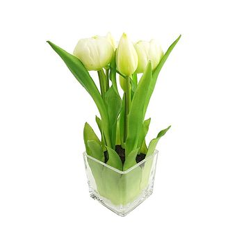 Artificial Tulip in Glass Vase Home Accent, 9-Inch, White