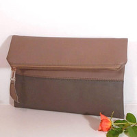 Brown Evening clutch bag, wedding clutch for bridesmaids, foldover leather clutch, leather purse, gift for bridesmaids, wedding brown clutch