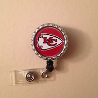 Kansas City Chiefs - Bottle Cap Retractable ID Badge Reel