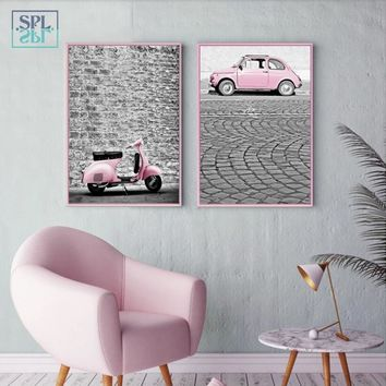 SPLSPL Romantic Wedding Decoration Wall Picture Pink Girl Car Train Canvas Art Print Painting and Poster for Kids Room No Frame