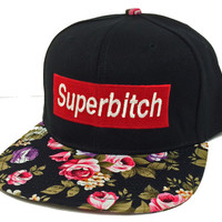 SUPER BITCH Snapback Floral Flower Print  Hat Hip Hip Cap