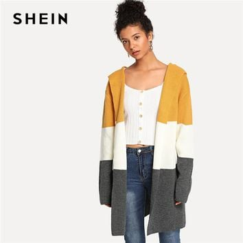 SHEIN Multicolor Preppy Elegant Open Front Color Block Casual Hooded Cardigan Sweater 2018 Autumn Campus Women Sweaters