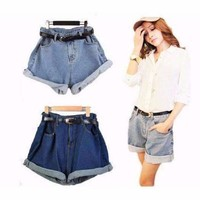 Geometric Loose High Waist Denim Shorts