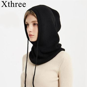 Xthree Cashmere Winter Knitted Hat Beanie Women Scarf Skullies Beanies Winter Hats For Women Men Cap Solid Bonnet Mask Brand Hat