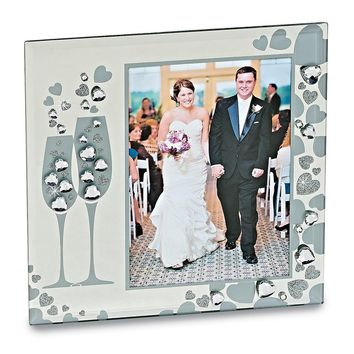 Glass Sparkling Toasting Flutes 5x7 Photo Frame