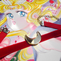 Sailor Moon Crescent moon red velvet choker