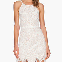 White Strappy Pointed Scallop  Floral Lace Mini Dress