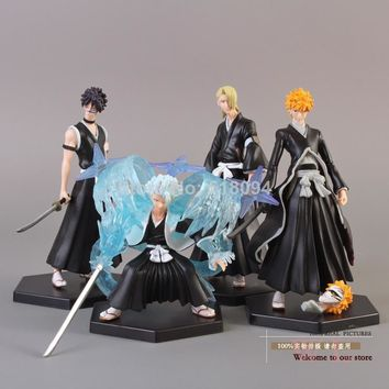 4 Anime Bleach Bleach Kurosaki ichigo Hitsugaya Toushirou Kira Iziru PVC Action Figure/ Collectible Model Toy 4pcs/set