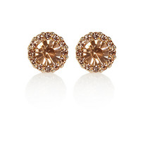 River Island Womens Light pink gemstone stud earrings