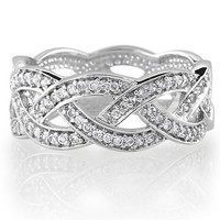 BERRICLE Sterling Silver Cubic Zirconia CZ Woven Womens Wedding Anniversary Eternity Band Ring