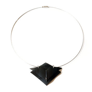 Geometric recycled inner tube pendant handmade using an upcycled bike tire , black rubber triangle necklace , one of a kind and unique
