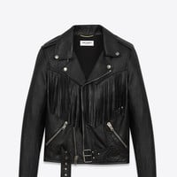 Saint Laurent Fringed Motorcycle Jacket In Black Leather | YSL.com