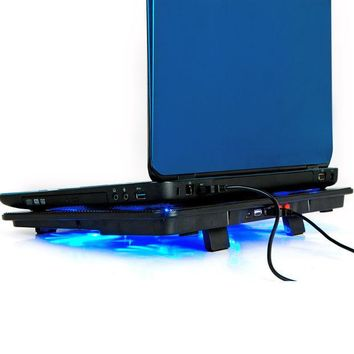VONC1Y High Quality laptop cooler 17 inch 5 fans 2 USB Laptop Cooling Pad/ Notebook Stand Cooler silence LED fits 14- 17'