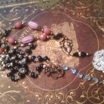 Love Birds Handmade assemblage necklace repurposed upcycled recycled religious rosary French beaded