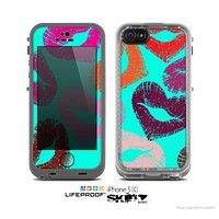 The teal Vector Puckered Color Lip Prints Skin for the Apple iPhone 5c LifeProof Case