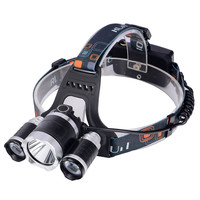 ,T6Headlamp 6000 Lumens 3 x Cree XM-T6 +2R5 Head Lamp LED camping Headlamp Headlight with rechargeable battery & charger