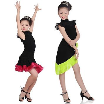 Girls Kids Children Modern Ballroom Latin Dance Dress Green Fringe Salsa Tango Dance Wear Black  Performance Stage Wear