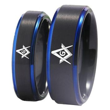 Black Blue Tungsten Masonic Design Rings