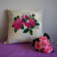 Decorative Floral Pillow, Pink Rose Pillow in Handmade, Throw Pillow Cover, Unique Patchwork Pillow Case, Romantic Beige Sofa Pillow