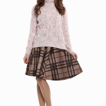 Chunky Knit Turtleneck Sweater In Pink